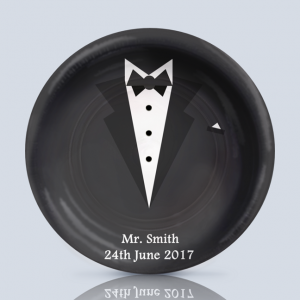 Product; Charger Plate. Name; Groom in Black. By; Recylica